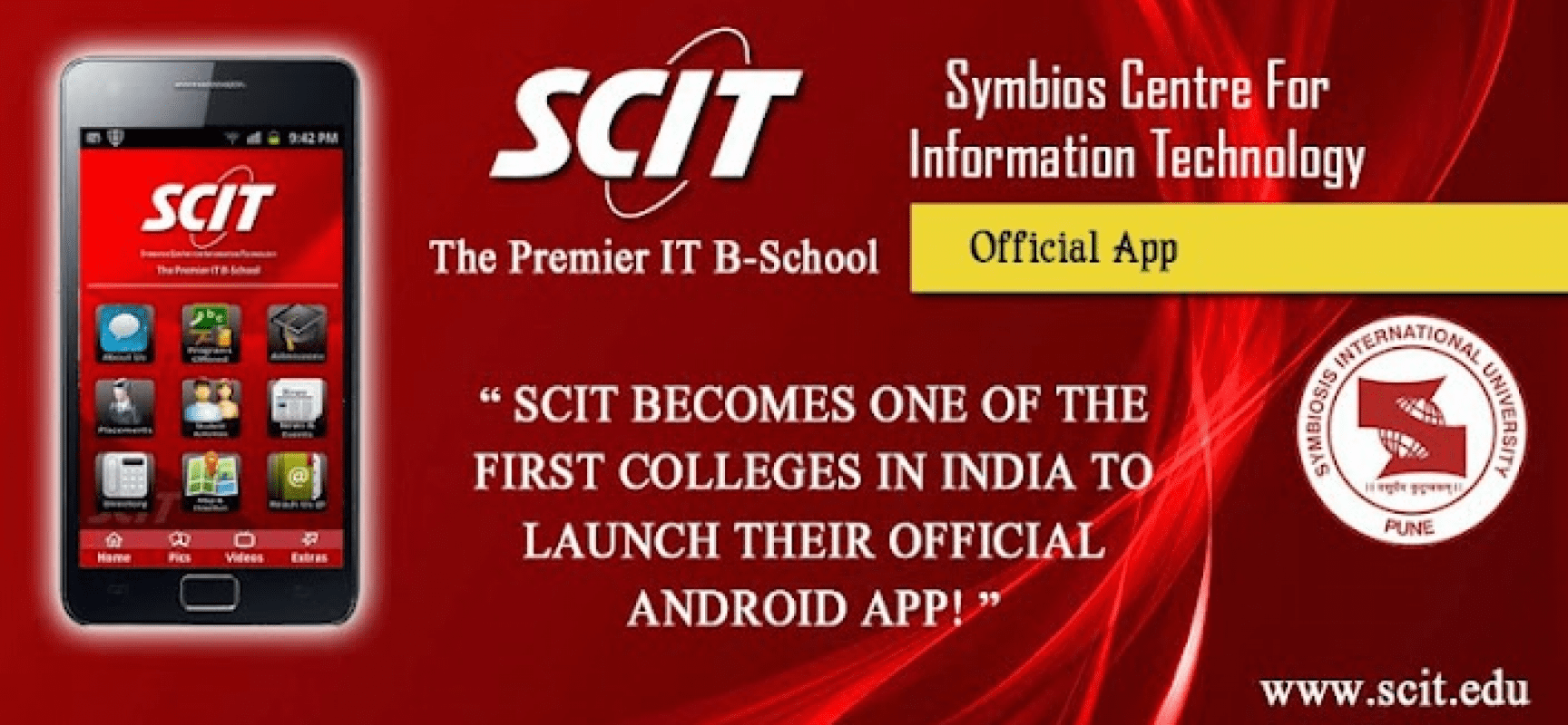 SCIT – First educational institution in India to launch a dynamic Android Application
