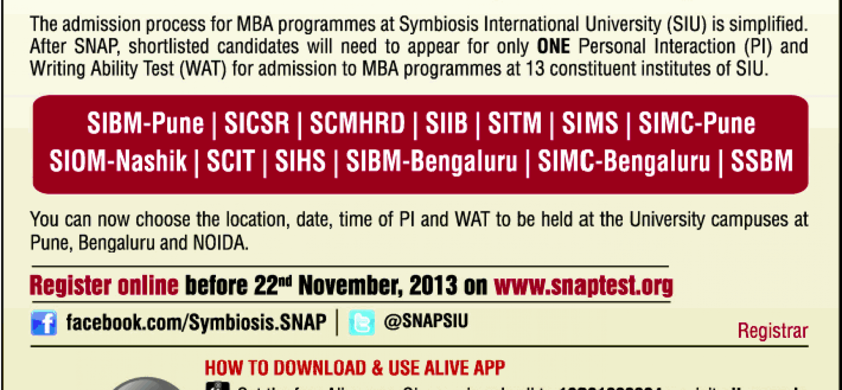 SNAP 2013 – GATEWAY to SCIT is now Open
